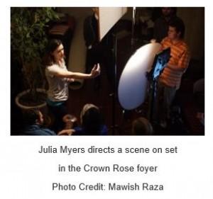 Julia Myers directing set in Crown Rose foyer_taken by Mawish Raza