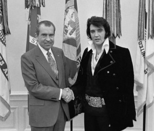 A photo of the iconic meeting between Richard Nixon and Elvis Presley
